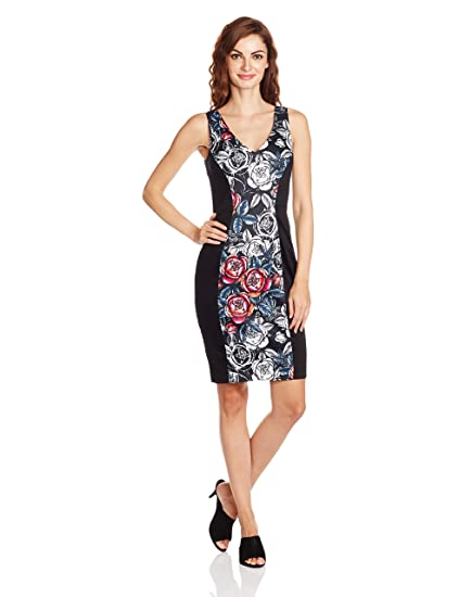 ea082ca700a French Connection Women's Midnight Rose CTTN V NK Body Con Floral  Sleeveless Dress, Black Multi, Size 14: Amazon.co.uk: Clothing