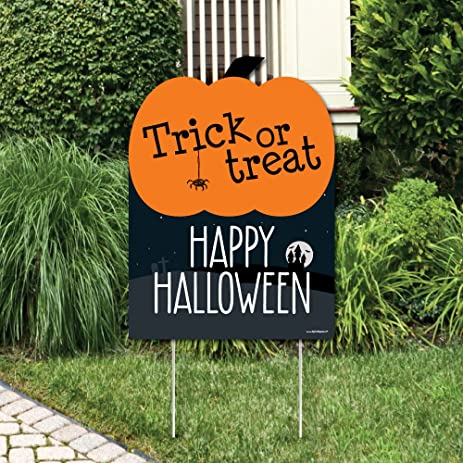 Trick Or Treat   Outdoor Halloween Decorations   Happy Halloween Yard Sign    Welcome Yard Sign