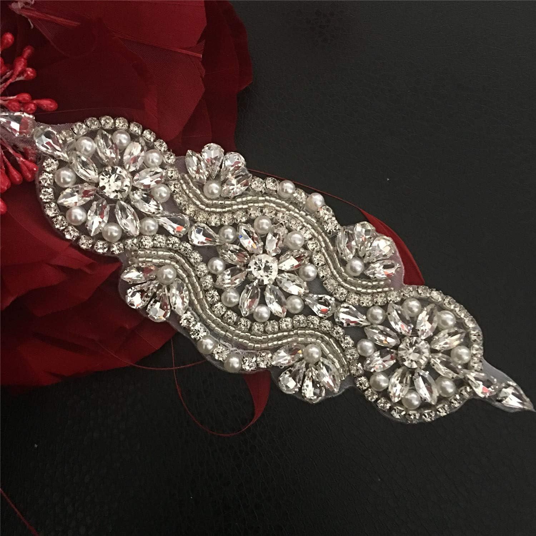 Rhinestone Bridal Belt Wedding Costume Applique Bling Crystal Headband DIY Motif