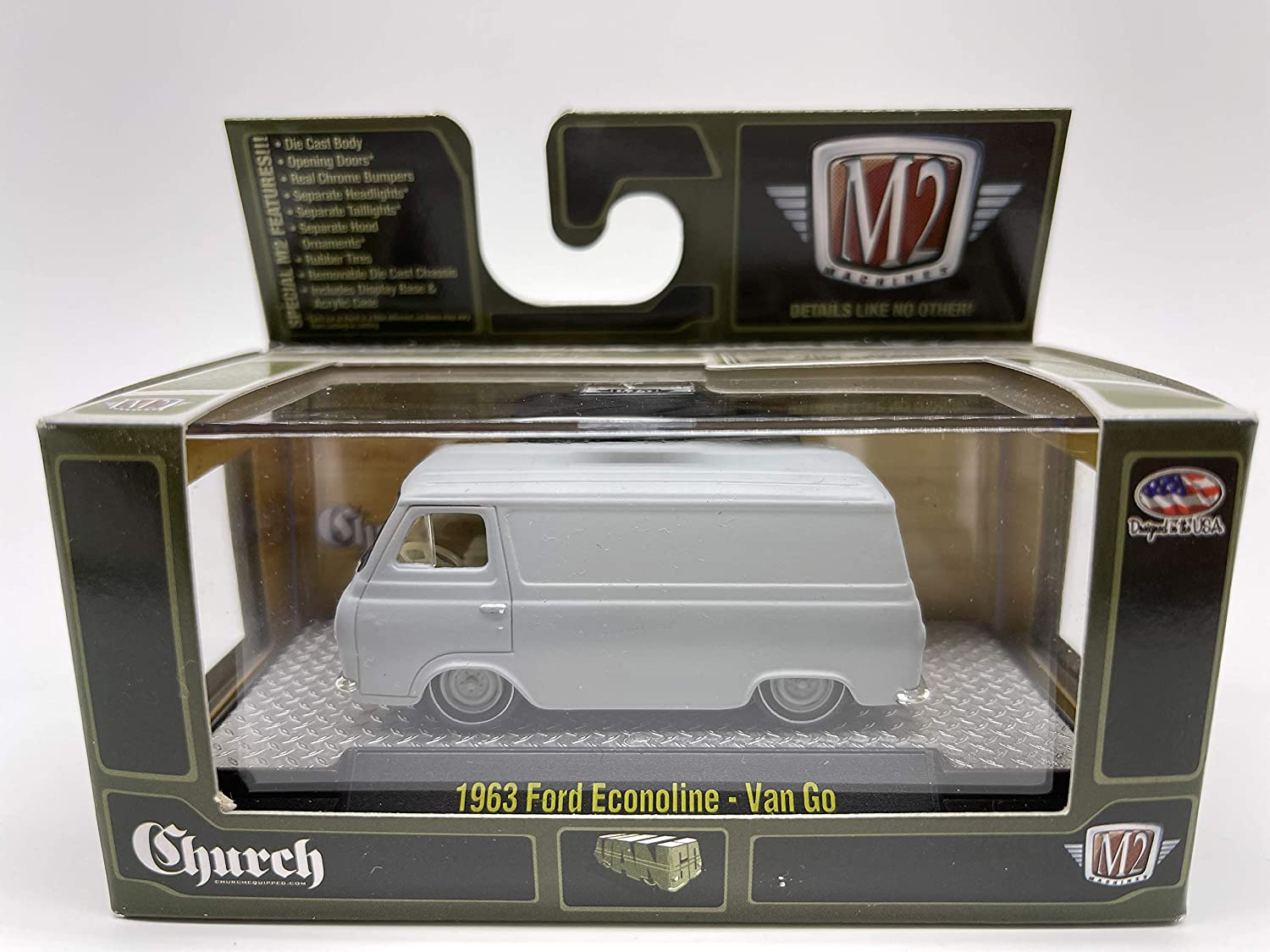 M2 Machines by M2 Collectible Church 1963 Ford Econoline Van Go 1:64 Scale Gray Details Like NO Other!