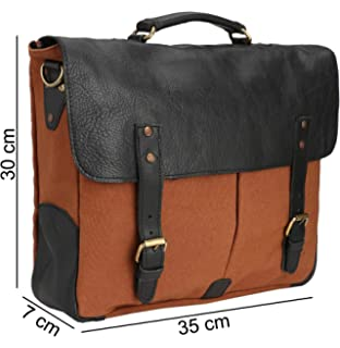 Carry Me Canvas and Leather Laptop Briefcase Messenger Bag Large ... 56ee50be7c05d