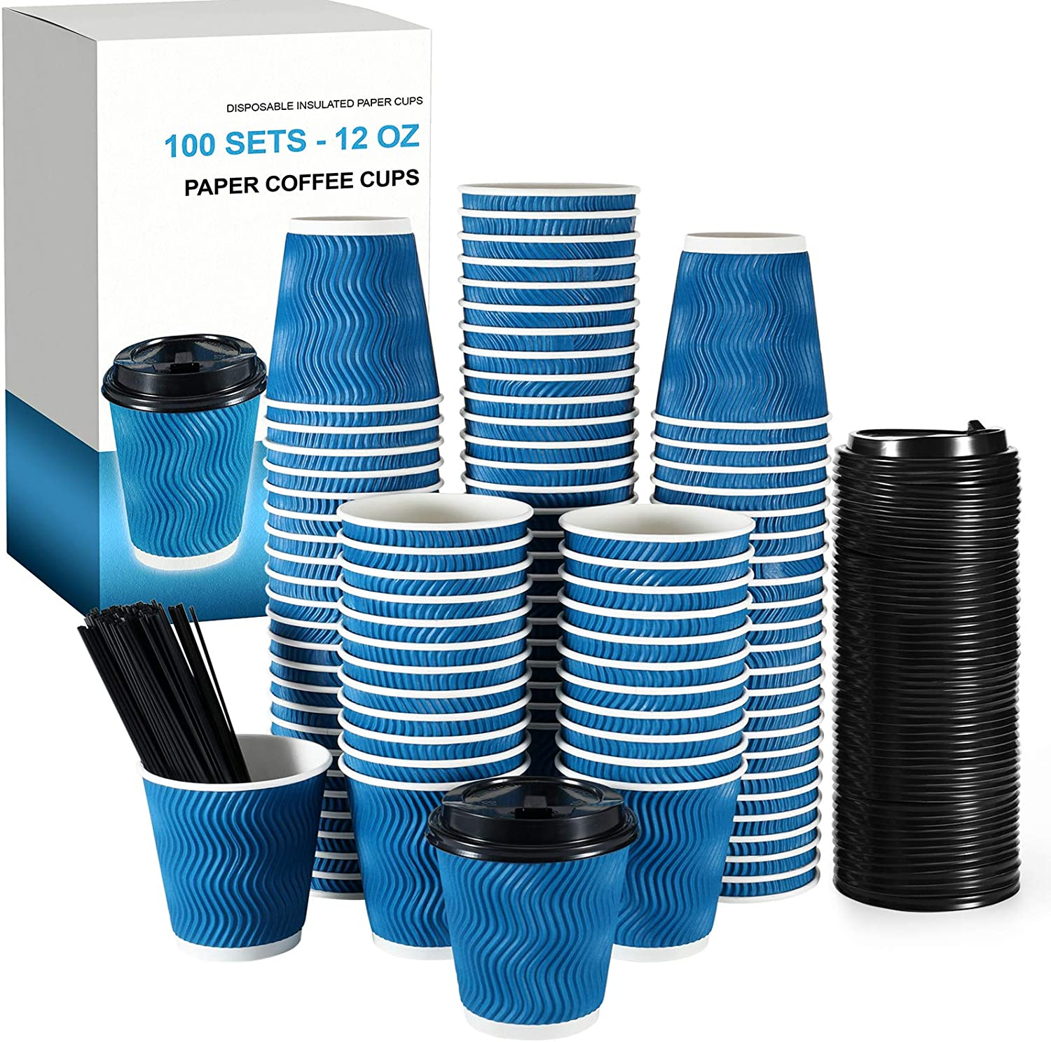 Millet by R-100 Sets 12 Oz Premium Disposable Coffee Cups with Lids & Stirring Straws-For Hot Cold Beverages Good For Home, Office, Party- Insulated To Go Paper Coffee Cups with Fitted Lids