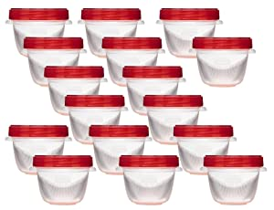 Rubbermaid 644766081134 TakeAlongs Twist and Seal Food Storage Containers, 1.2-Cup, Clear, Set of 4 (4-Pack of 4), 1, Red