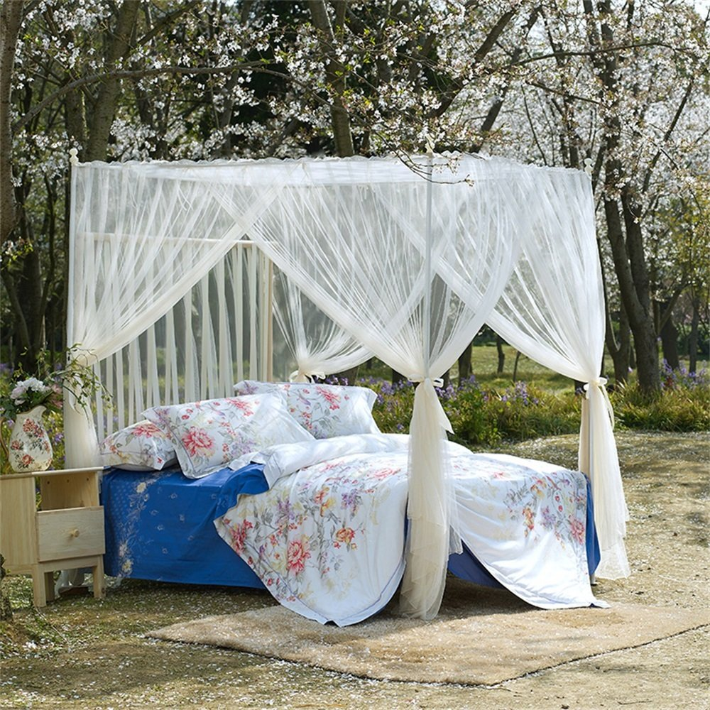 Royal- European Style Square Top Mosquito Net Three-door Encryption Thickening Home Double Bed Princess Style Stainless Steel Bracket Beige ( Size : 2.0m (6.6 feet) bed )