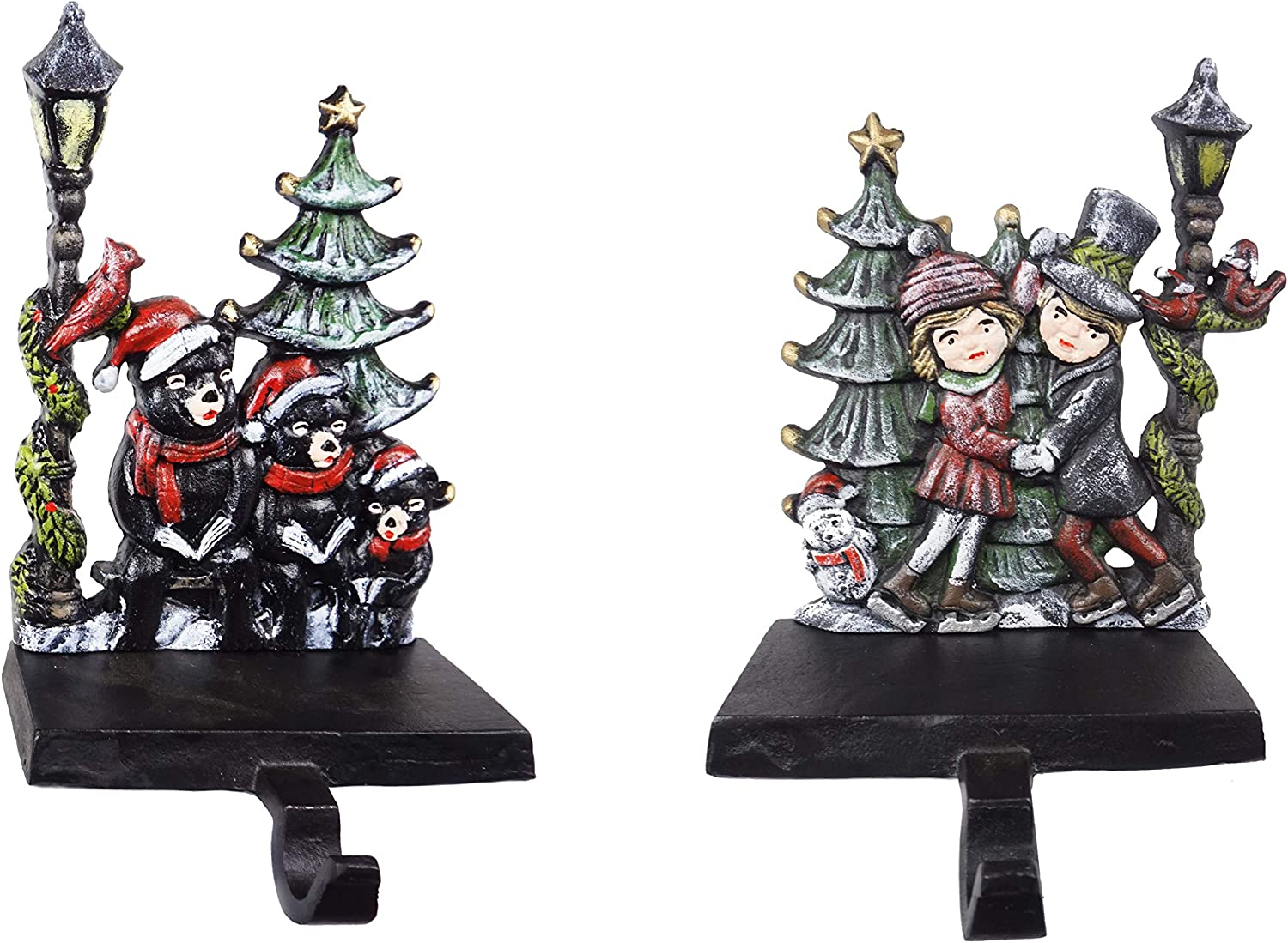 Lulu Decor, Set of 2 Cast Iron Stocking Holders, Bear & Kids Dancing by The Lamp Post Christmas Stocking Hooks in Beautiful Christmas Colors