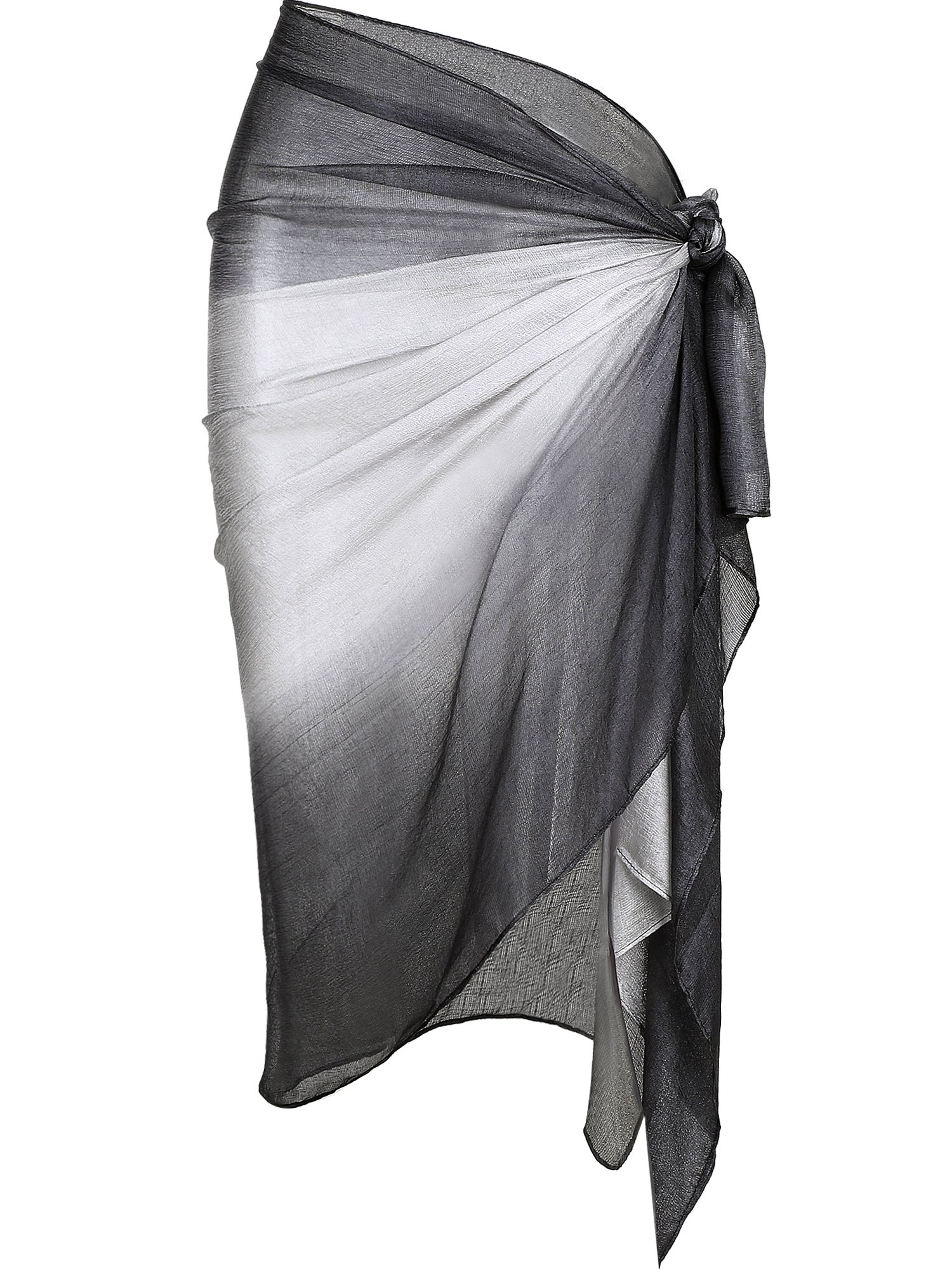 Hestya Women Pareo Swimsuit Beach Swimwear Gradient Color Bikini Sarong (Grey)