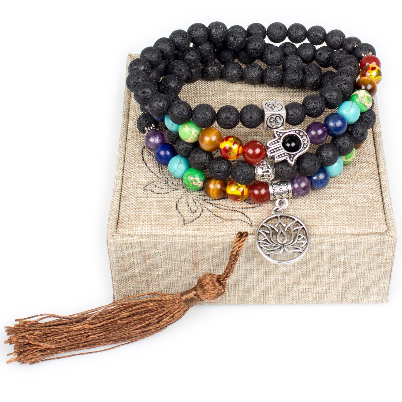 8mm Lava Rock 108 Buddhist Prayer Beads 7 Chakra Stones Tibetan Mala Beads Lotus Flower Bracelet Necklace Lotus Flower) Leefi 004
