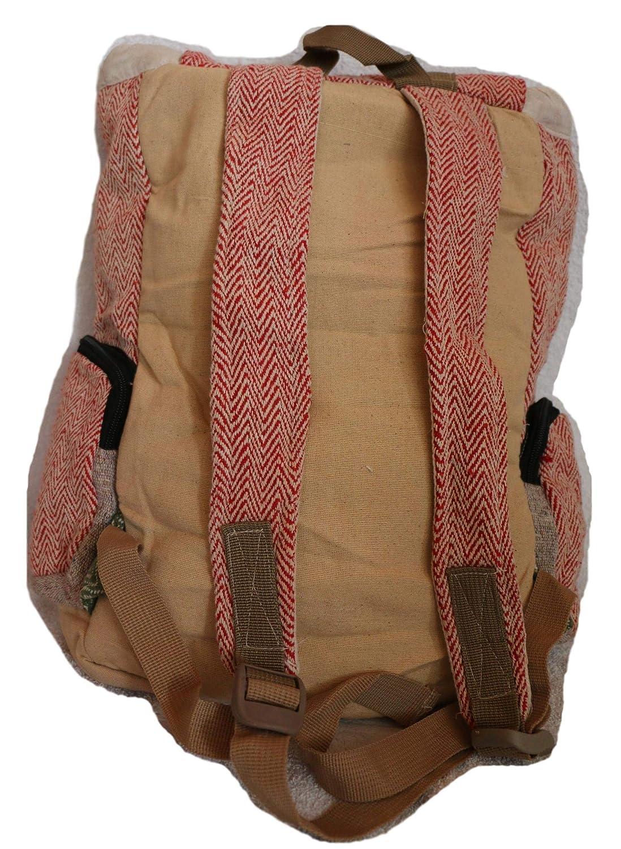 Mochila de fibra de cáñamo / mochila de día de cáñamo / mochila de senderismo de cáñamo / mochila con sobre de cáñamo con cordon para viajes, al aire libre ...