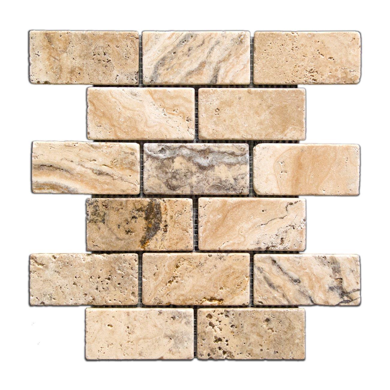 Philadelphia 2 X 4 Tumbled Travertine Brick Mosaic Tile - Lot of 50 Sheets