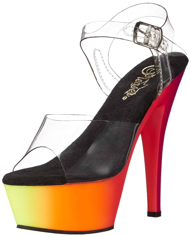 Pleaser Women's RBOW208UV/C/NMC Platform Dress Sandal B00QPTIDLS 12 B(M) US|Clear/Neon Multi