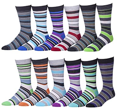 12 Pairs of excell Mens Colorful Designer Dress Socks- Cotton ...