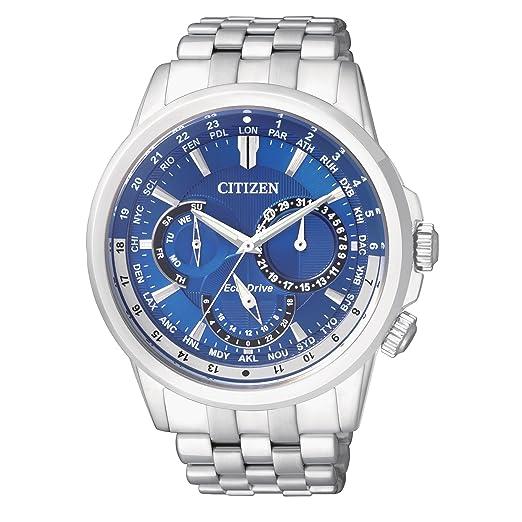 Citizen CALENDRIER Reloj para Hombres de Cuarzo Reloj con cronógrafo para Hombre (Mecanismo de Cuarzo, Esfera Azul y Plata Correa de Acero Inoxidable BU2021 ...