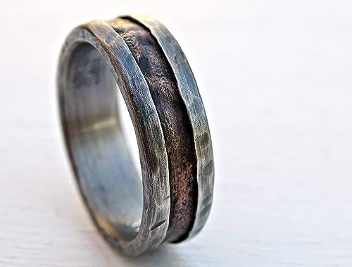 Amazon Com Cool Mens Ring Bronze Unique Wedding Band Bronze