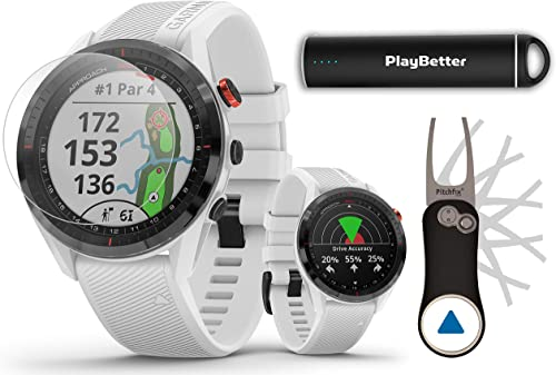 Garmin Approach S62 White Golf GPS Watch PlayBetter Bundle 2020 Model PlayBetter HD Screen Protectors, Garmin Pitchfix Divot Tool Portable Charger 010-02200-01