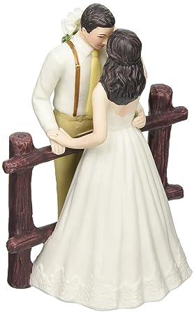 Rustic Couple Porcelain Figurine Wedding Cake Topper White Dress