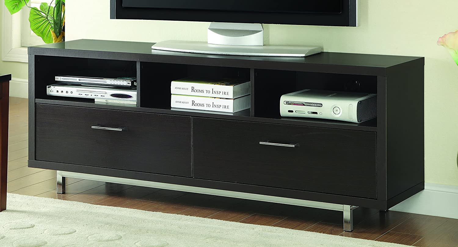 Coaster Home Furnishings Low TV Console with 3 Storage Compartments and 2 Drawers Cappuccino
