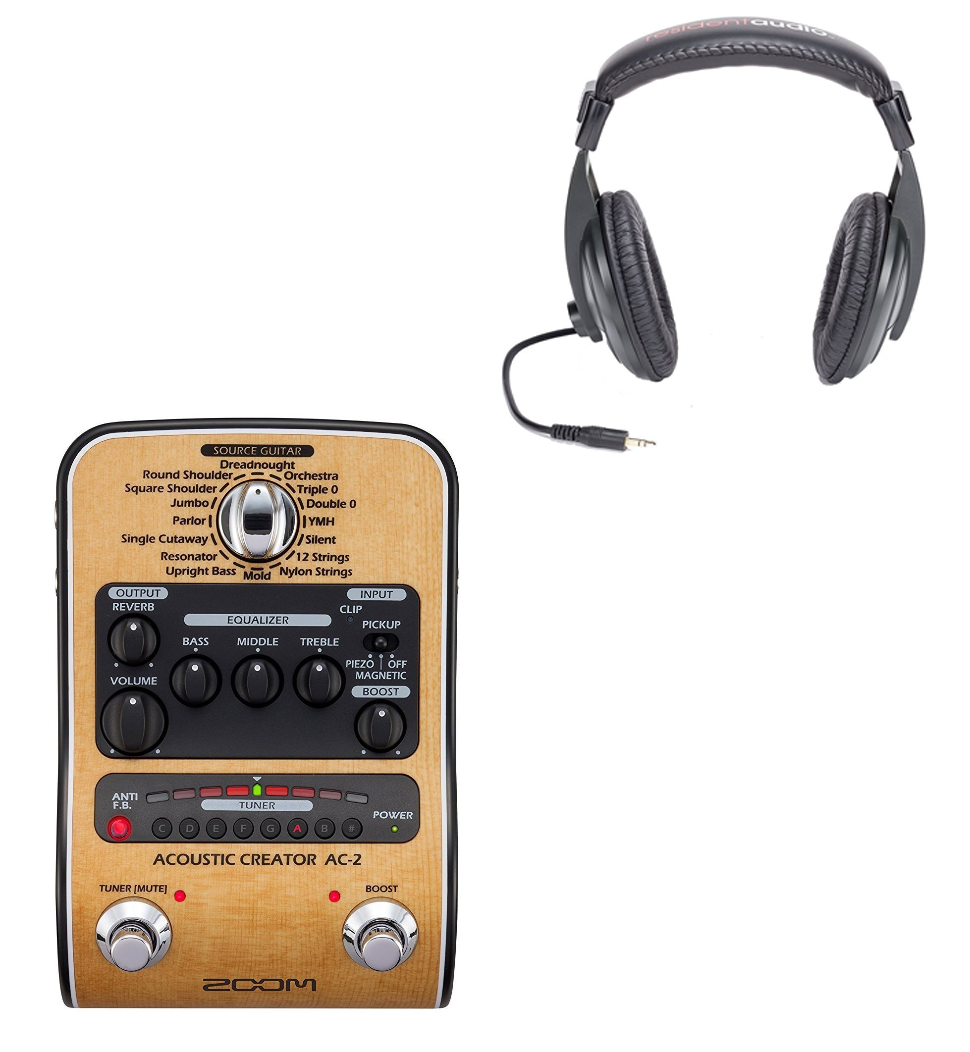 Zoom AC-2 Acoustic Guitar Effect Pedal + Pro HeadPhones