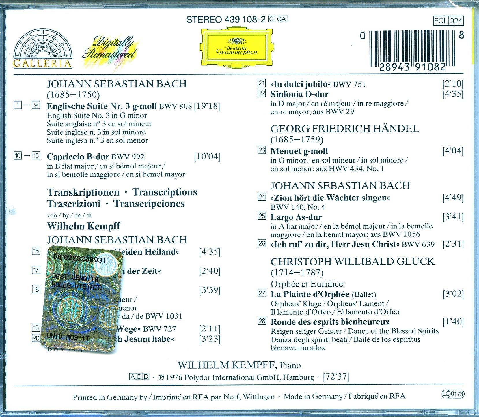 Kempff Plays Bach: English Suite No. 3; Capriccio in B flat; Transcriptions of J.S. Bach, Handel, & Gluck by Deutsche Grammophon
