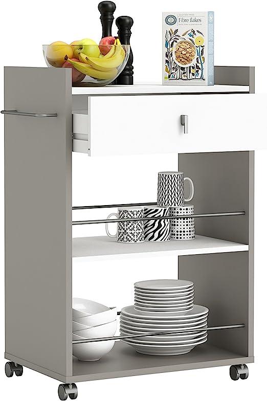 Demeyere 413480 - Mesa de Servicio para el microondas (1 cajón, 2 ...