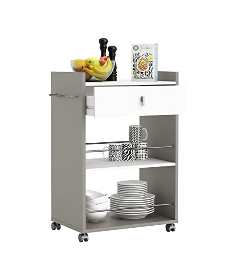 Demeyere 413480 - Mesa de Servicio para el microondas (1 cajón, 2 Compartimentos), Color Blanco y Gris