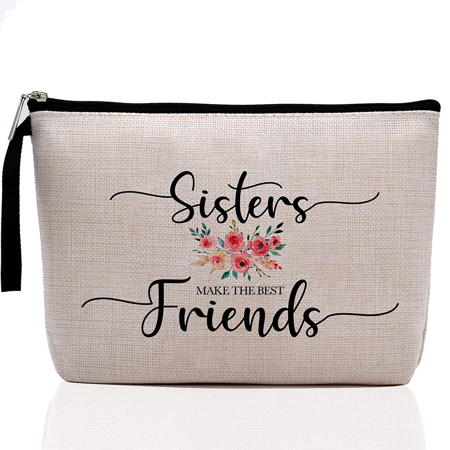 Sister Gifts from Sister, Brother, Rakhi Gift for Sister-Sisters Make The Best Friends-Funny Best Sister Gifts For Soul Sister, Big Sister, Little Sister Birthday Gifts-Makeup Bag