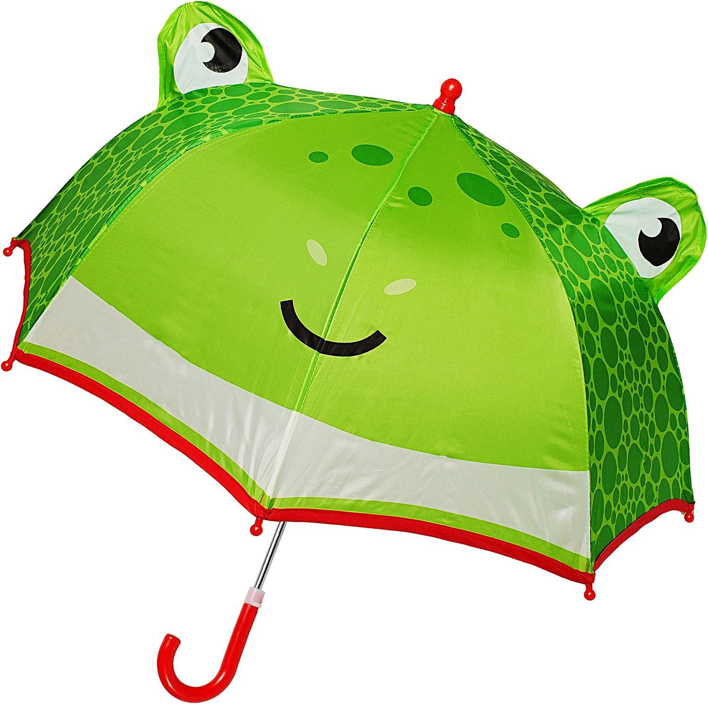 lustiger Frosch /Ø 70 cm // mit Einklemmschutz f/ür M/ädchen Jungen inkl Regenschirm // Kinderschirm mit Griff S.. Name Kinder Stockschirm alles-meine.de GmbH 3D Effekt