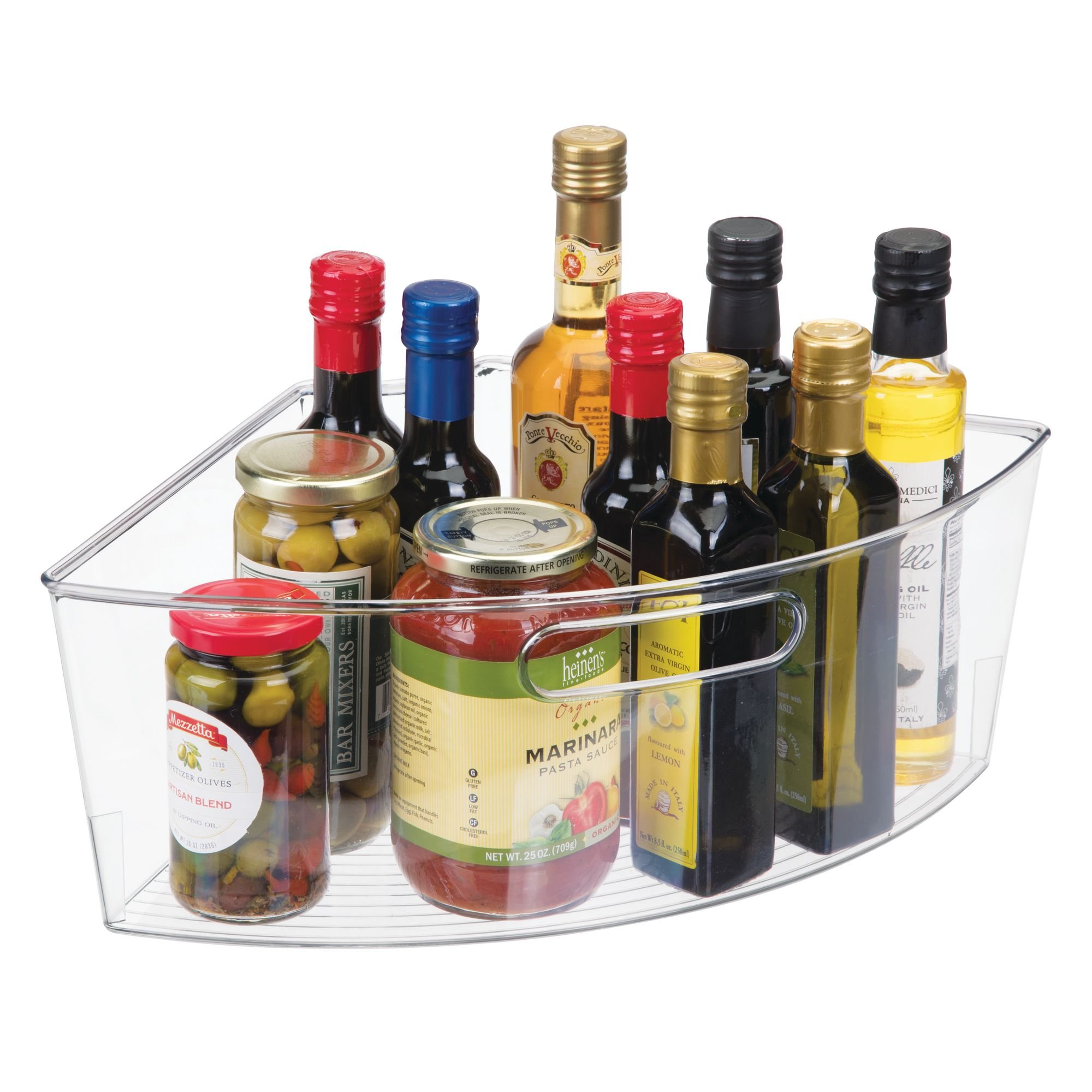 mDesign Kitchen Cabinet Plastic Lazy Susan Storage Organizer Bins with Front Handle - Large Pie-Shaped 1/4 Wedge, 6'' Deep Container - Food Safe, BPA Free - Set of 4, Clear by mDesign (Image #6)