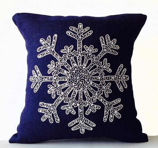 Copo de nieve cojín en color azul con yute de lentejuelas y ...