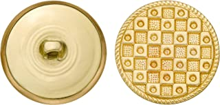 product image for C&C Metal Products 5147 Fancy Checker Metal Button, Size 45 Ligne, Gold, 36-Pack