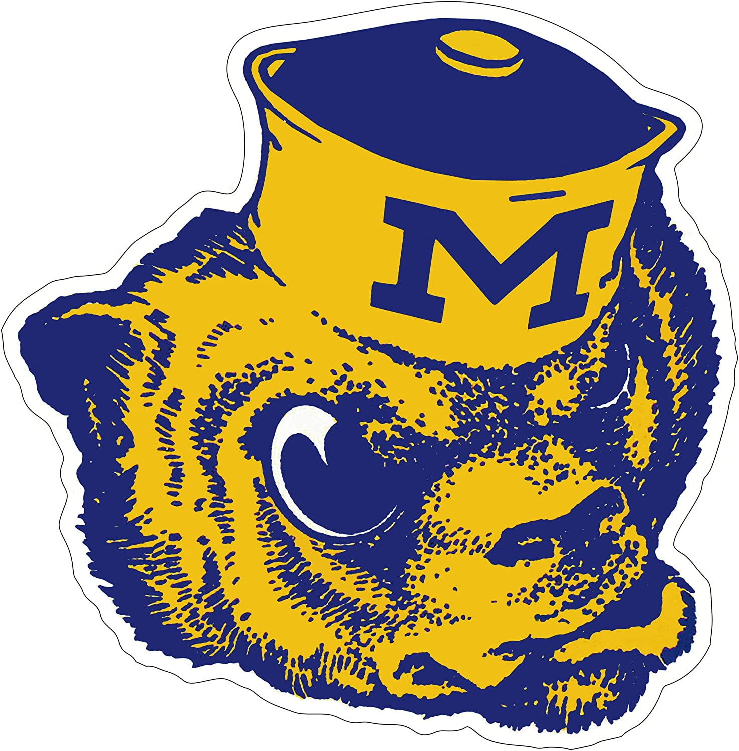 5- Sizes Michigan Wolverines Sticker University of Michigan Vinyl Decal NCAA Logo Team Colors 3 inch