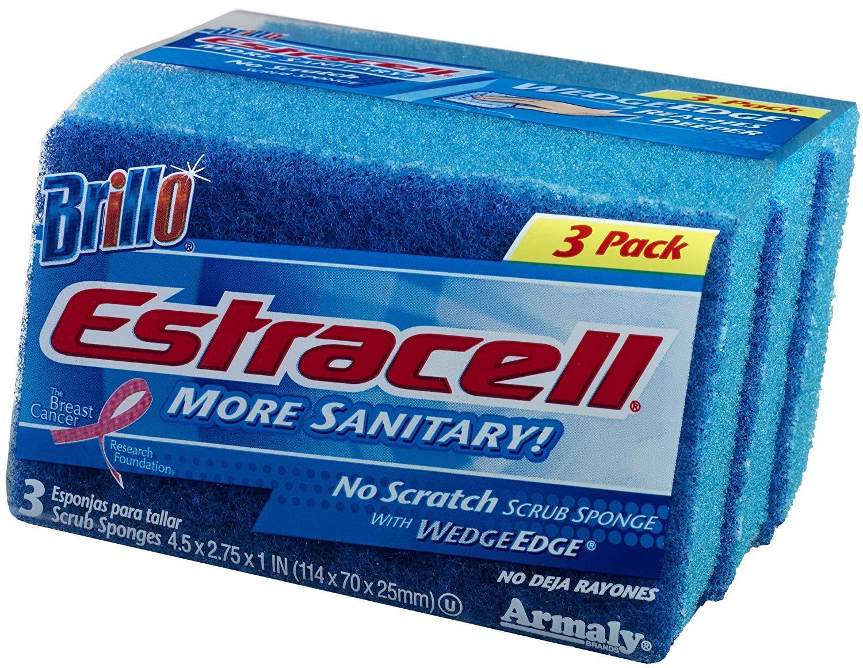 Brillo Basics Estracell More Sanitary No Scratch Scrub Sponge 3 per Pack (2-Pack) 6 Total