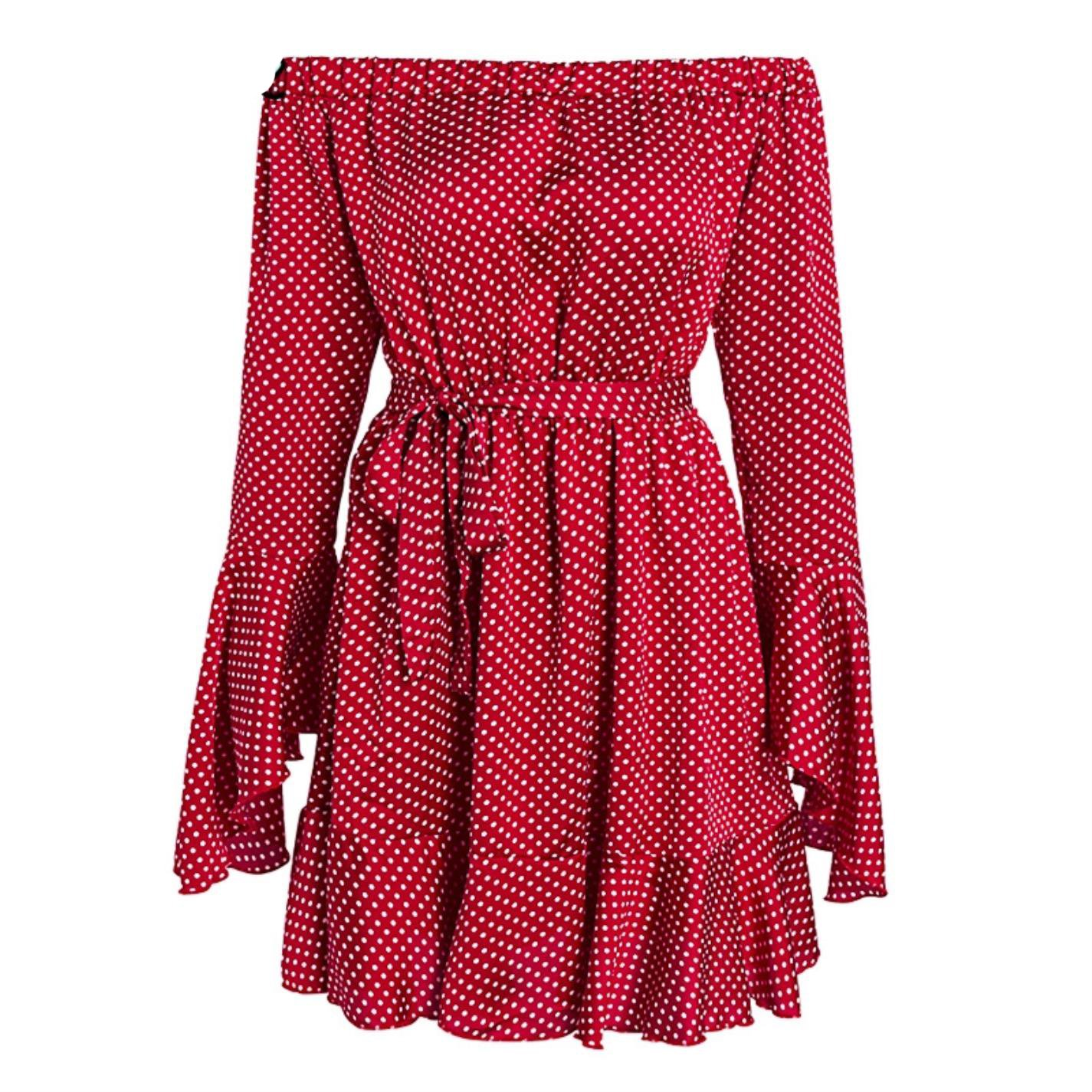 Red kgtYGTCn Women Off Shoulder Dot Short Ruffle Long Sleeve Sash Casual Dress
