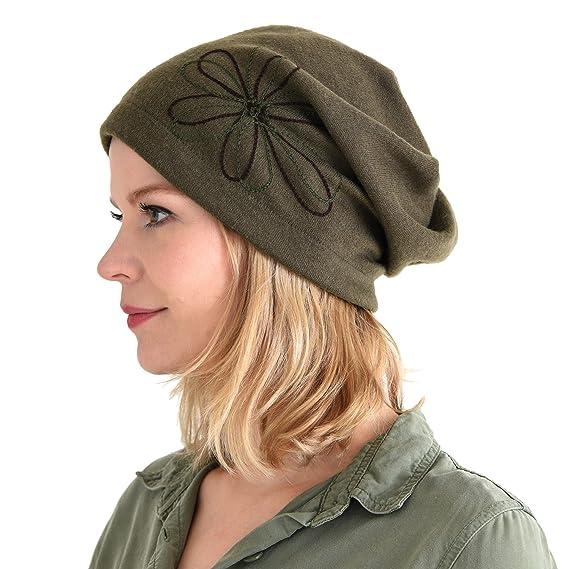 6f46ed87a9e29 CHARM Casualbox Bonnet Tombant Tricoté Watch Chapeau Bonnet Tous Saison Tombant  Bonnet Bouffant Fleur Point Dames