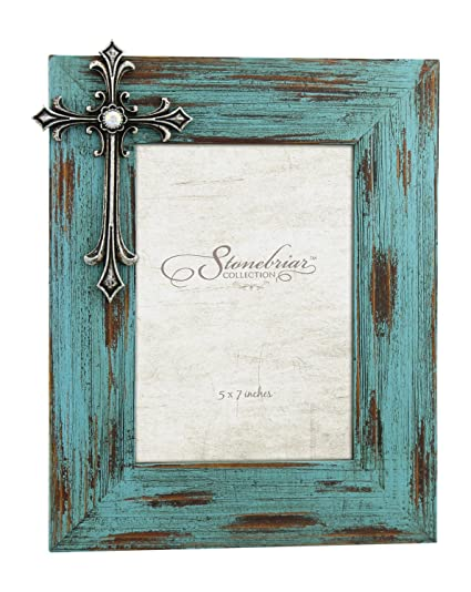 Attrayant Stonebriar Distressed Turquoise Wood 5x7 Photo Frame With Vintage Jeweled  Cross Detail, For Table Top