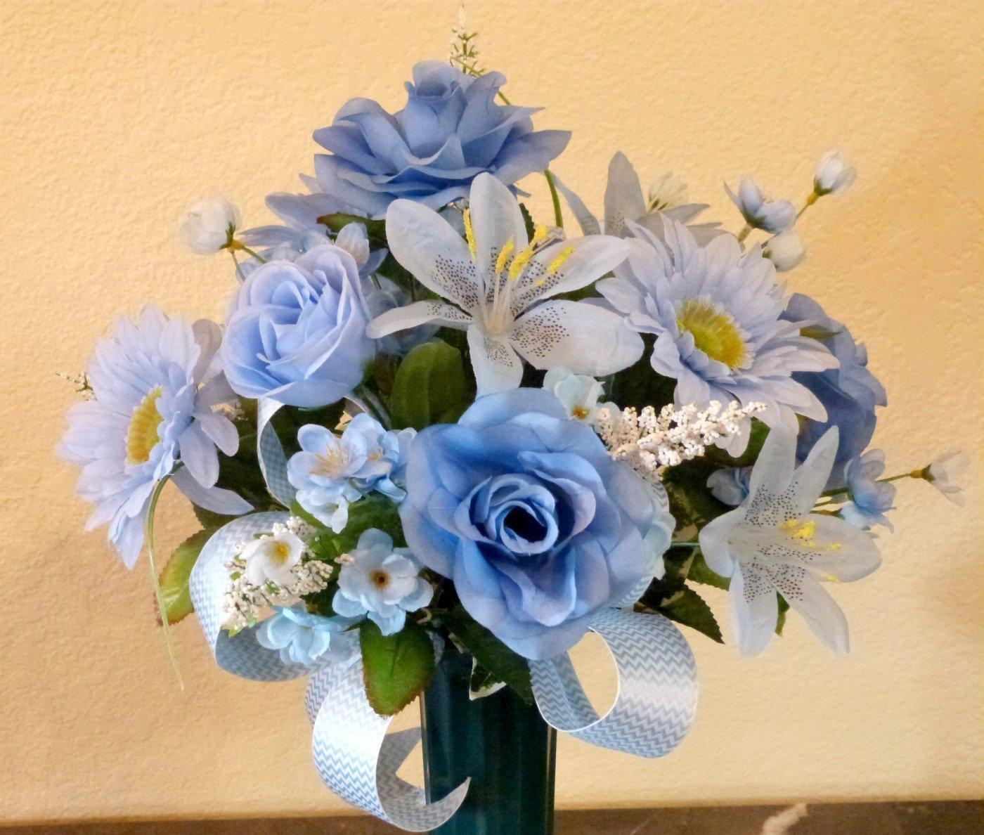 Amazon Com Funeral Flowers Arrangement Cemetery Floral Arrangement Cemetery Vase Arrangement Handmade