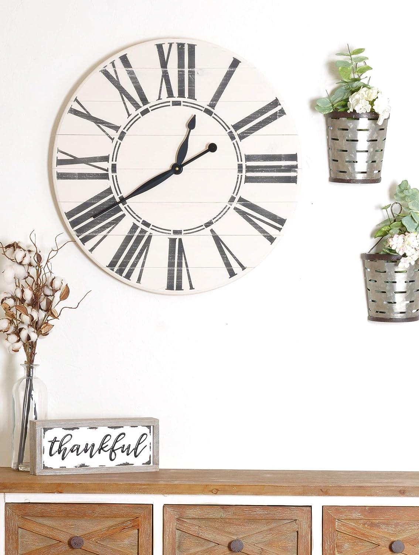 Amazon Com Brandtworks Oversized Antique Wall Farmhouse Clock 30 X 30 White Black Home Kitchen