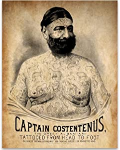 The Tattooed Man - Captain Costentenus - 11x14 Unframed Art Print - Great Tattoo Shop Decor and Gift Under $15 for Tattoo Artists