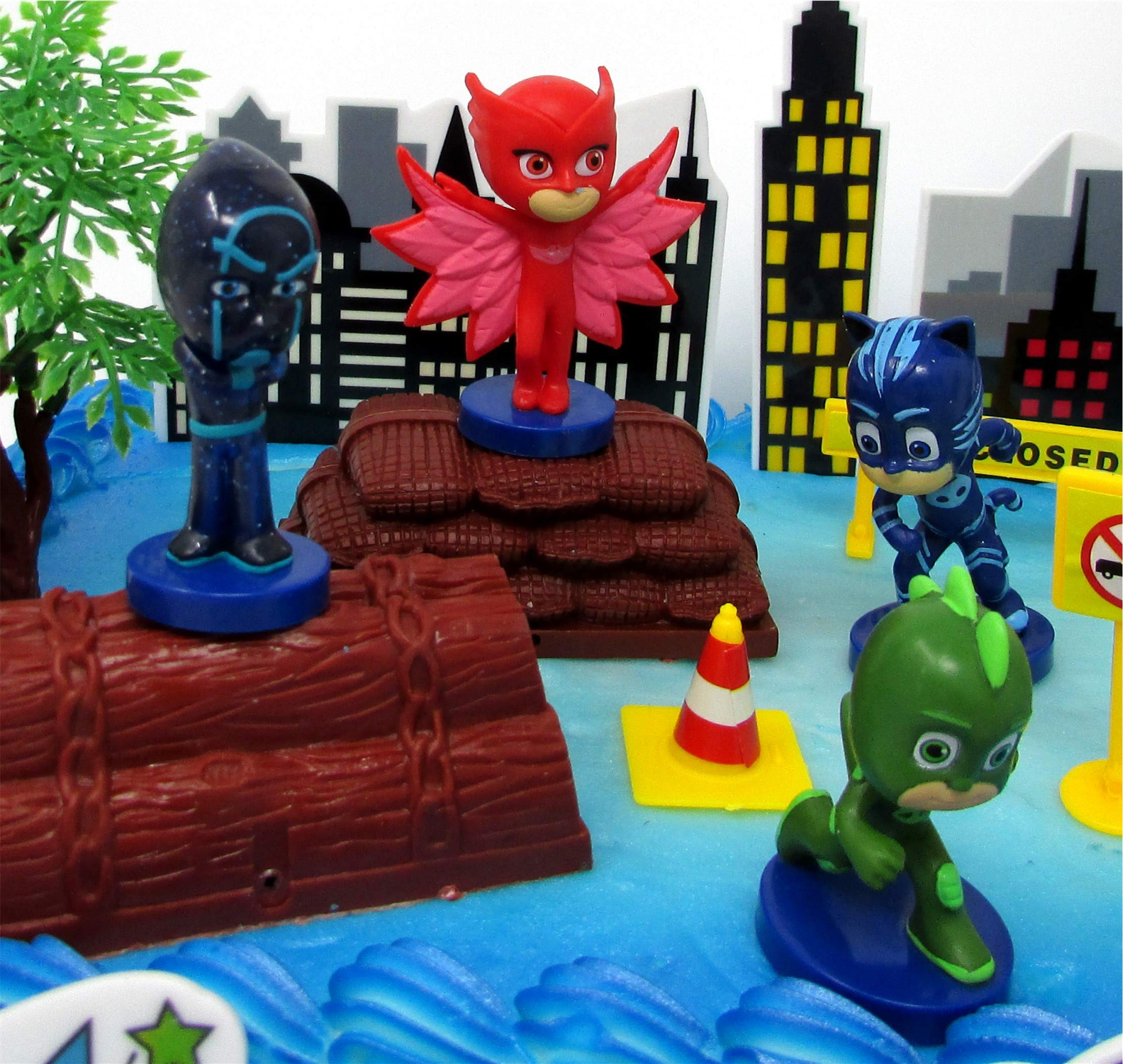 Super Hero PJ MASKS Deluxe Birthday Party Cake Topper Set Featuring Figures and Decorative Accessories by Cake Toppers (Image #2)