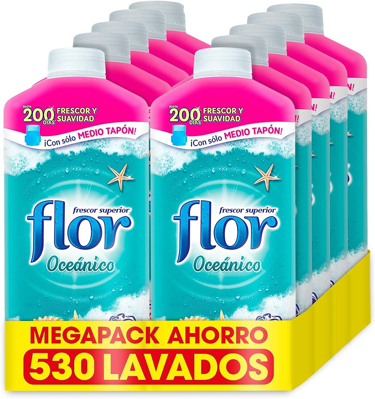 Flor - Suavizante para la ropa concentrado, aroma Oceánico - Pack de 10, hasta 530 dosis