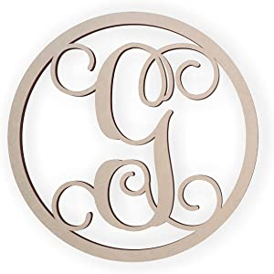 Jess and Jessica Wooden Letter G, Wooden Monogram Wall Hanging, Large Wooden Letters, Cursive Wood Letter