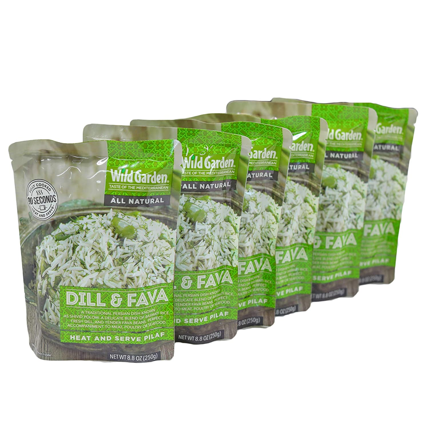 Wild Garden Heat and Serve Pilaf, 100% All-Natural Dill & Fava, Fully Cooked, Ready to Eat, Microwavable 8.8 oz, 6 pack