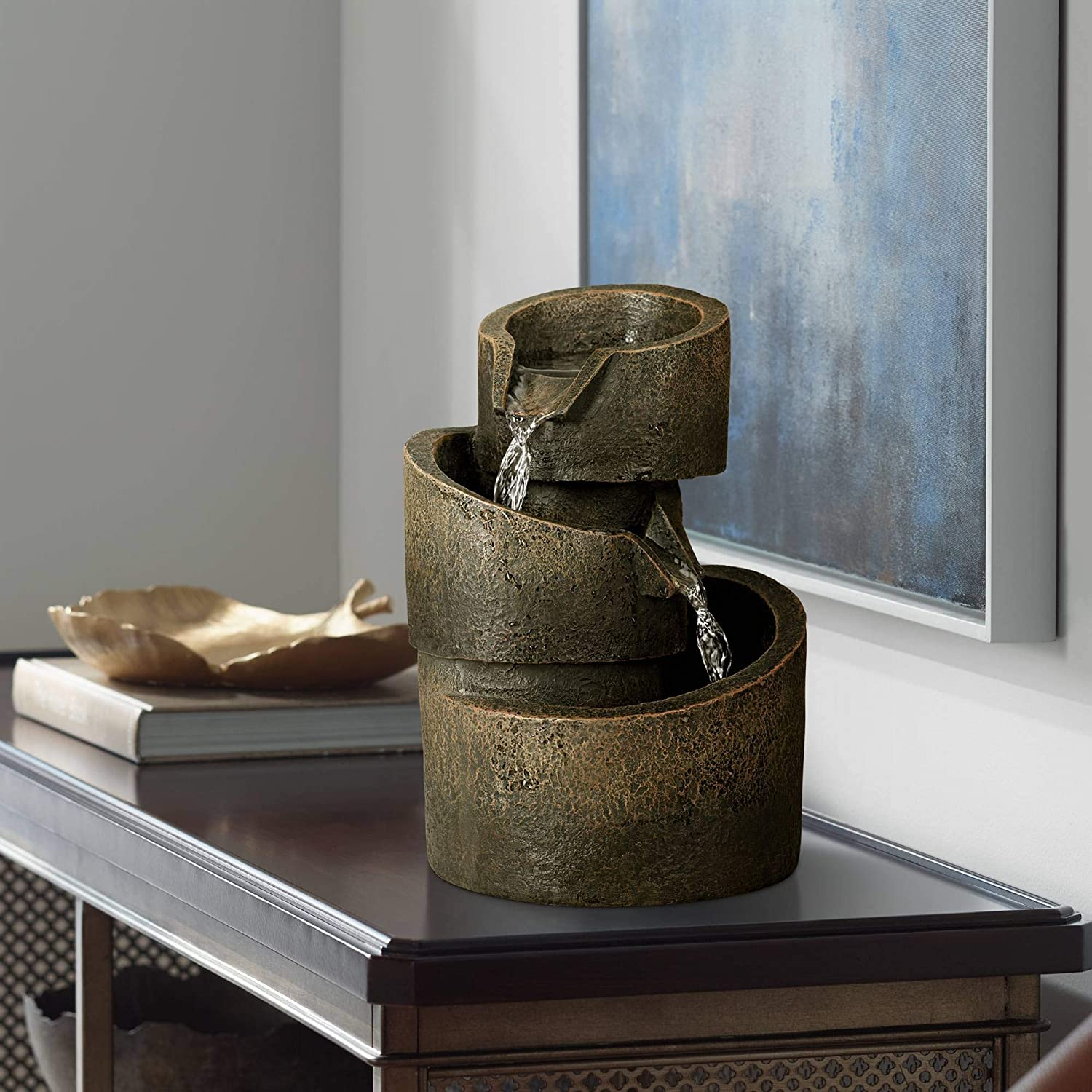 """Rustic Modern Zen Indoor Table-Top Water Fountain 9 3/4"""" High Cascading for Table Desk Office Home Bedroom Relaxation - John Timberland: Home & Kitchen"""