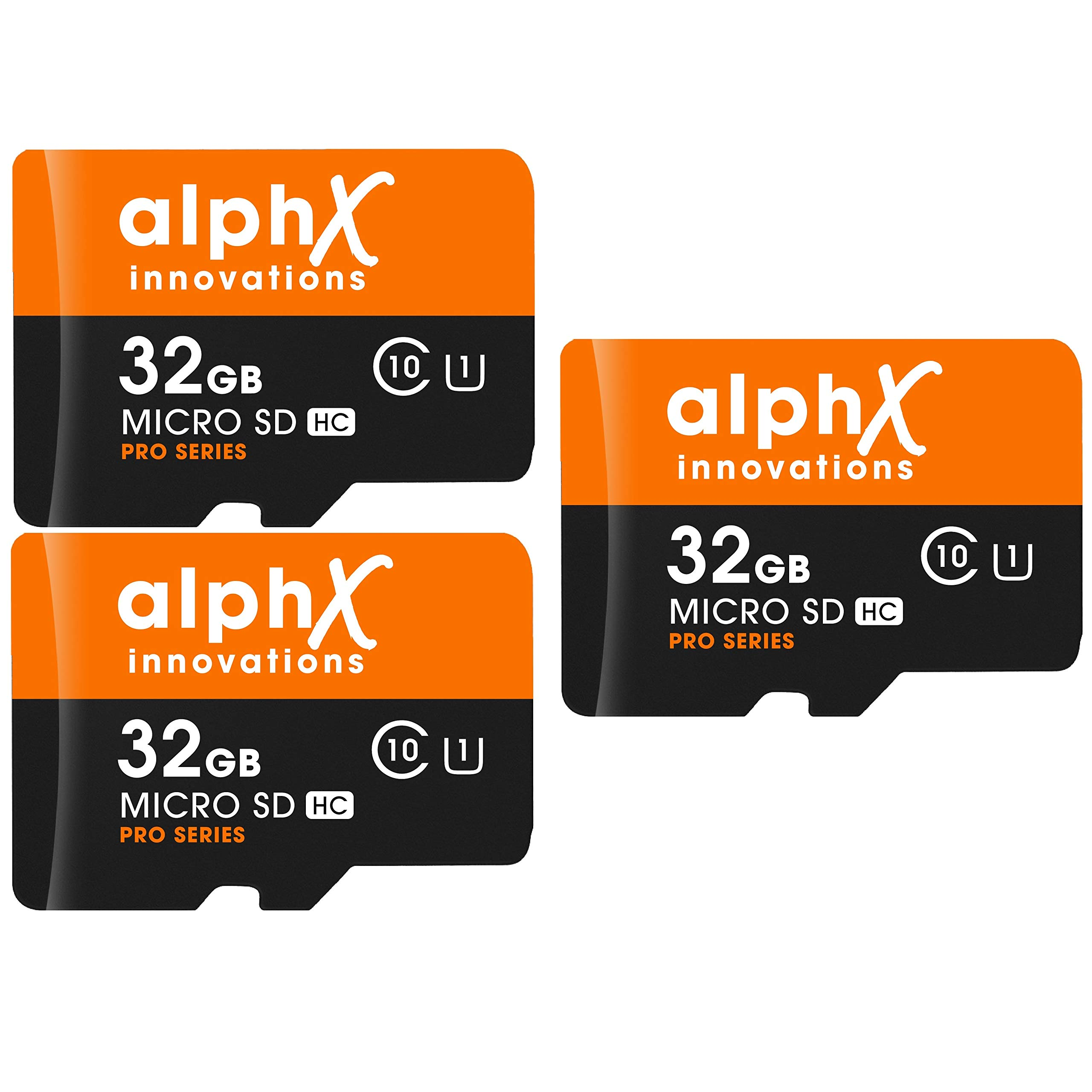 5 Piece Bundle - AlphX 32gb [3 pack] Micro SD High Speed Class 10 Memory Cards for Samsung Galaxy S9, S9+, S8, Note 8, S7, S5, S4 with Bonus Adapter and Sandisk Micro SD Card Reader