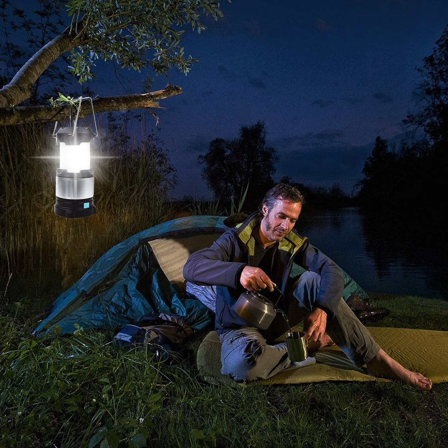 Alcoon Rechargeable LED Camping Lantern Light Lamp with 5600mAh Power Bank, Portable Collapsible Waterproof Outdoor Light with 18650 Li-ion Batteries for Camping Traveling Tent, Emergency, Outage by Alcoon (Image #7)