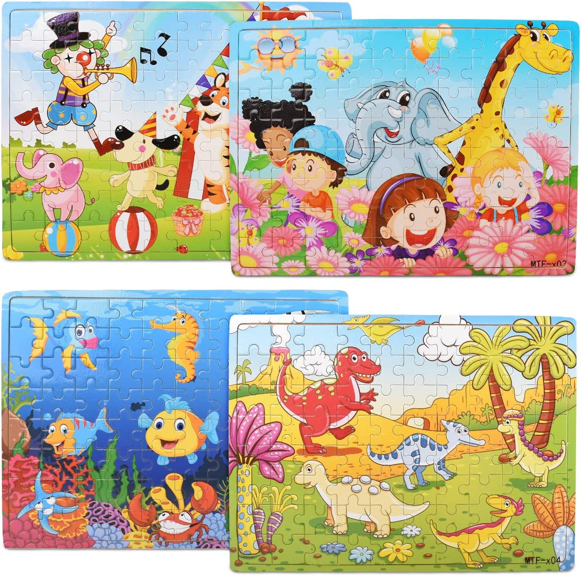 Wooden Puzzles for Kids Ages 3-8Year Old 80 Piece Colorful Wooden Puzzles for Toddler Children Learning Educational Puzzles Toys for Boys and Girls (4 Puzzles)