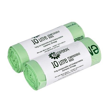 df55aef72 All-Green - Bolsas de basura biodegradables y compostables (10 L, 50 bolsas