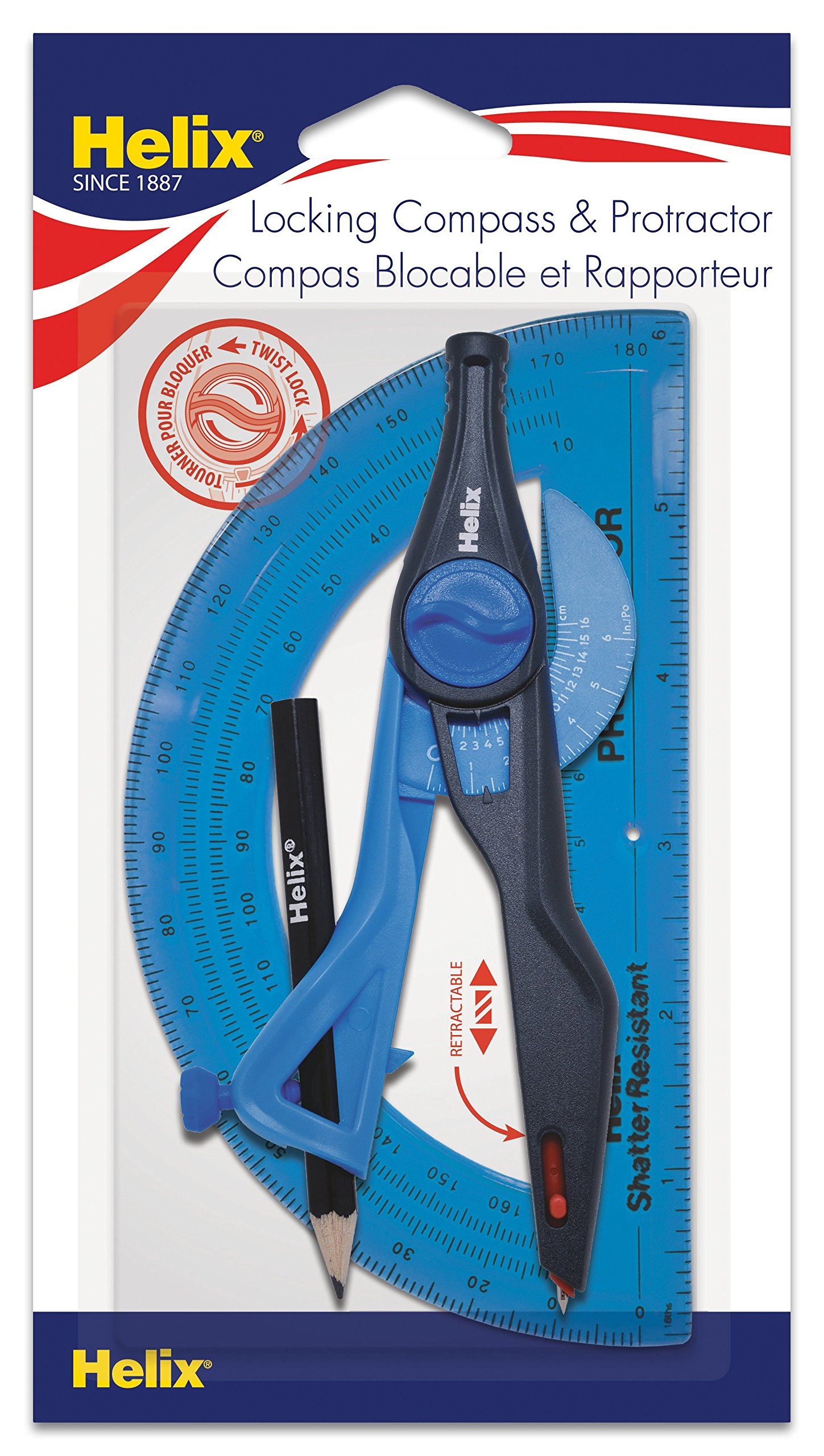 Helix Universal Locking Compass and Protractor 2 Piece Set, Assorted Colors (18803)
