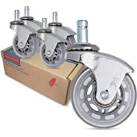 AXL Office Chair Caster Wheels Replacement Heavy Duty with Rollerblade Style (Soft Rubber) - Safe for Hardwood Floors…