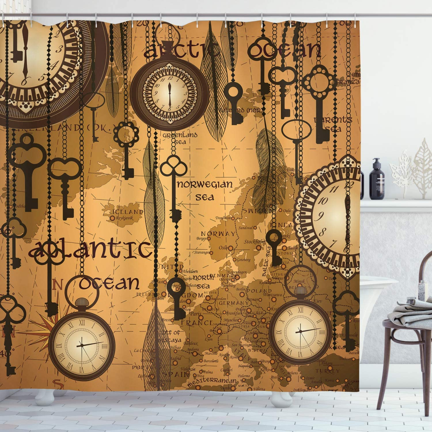 Ambesonne Antique Shower Curtain, Antique Background with Map Clocks and Feathers Time Classics Country Style, Cloth Fabric Bathroom Decor Set with Hooks, 70
