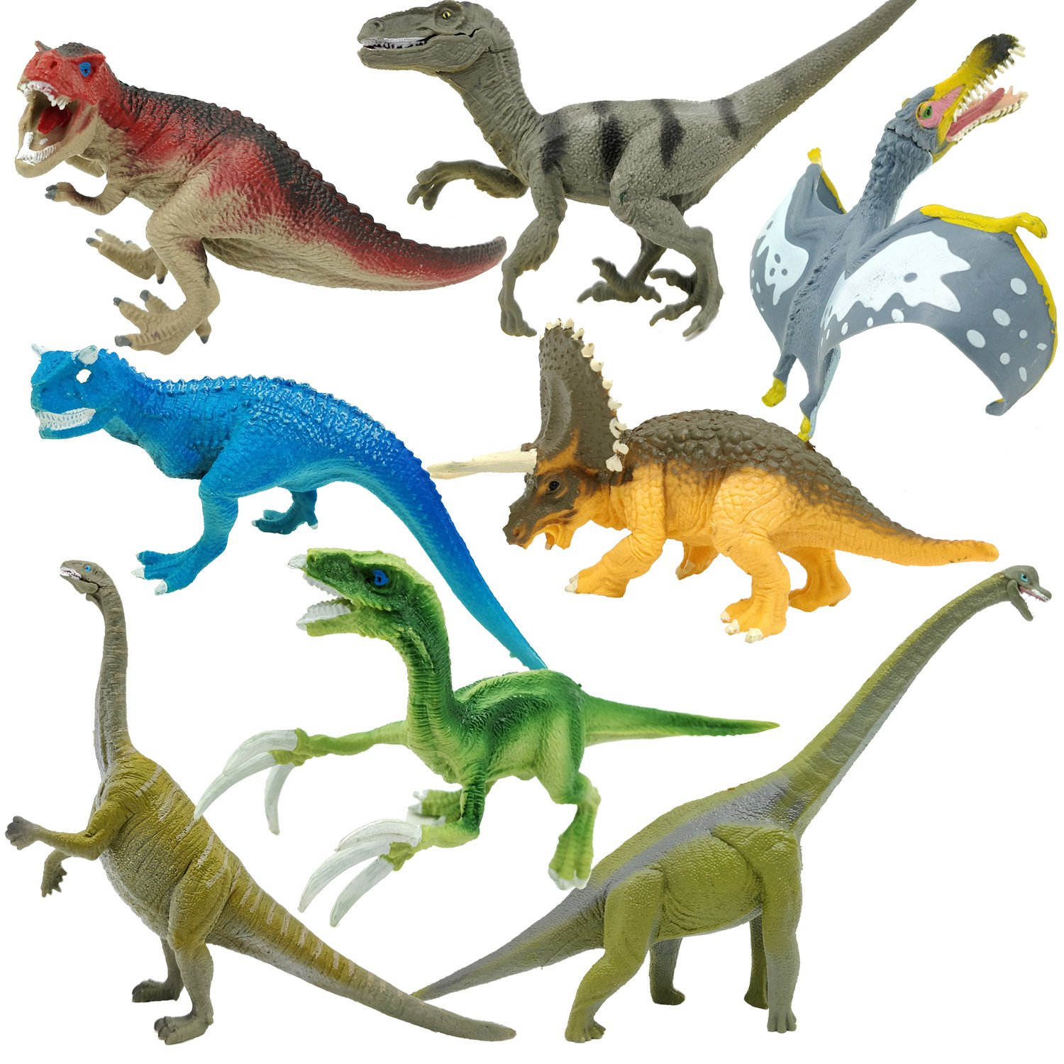 KISSKIDS 9'' Dinosaur Figures Toy Sets,Realistic Looking, Large Plastic Assorted Dinosaurs with Book for Kids, Pack of 16